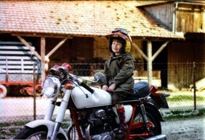 Totte auf dem Motorrad